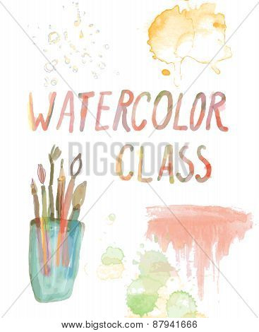 Watercolor Class Banner - Background With Brushes, Stains