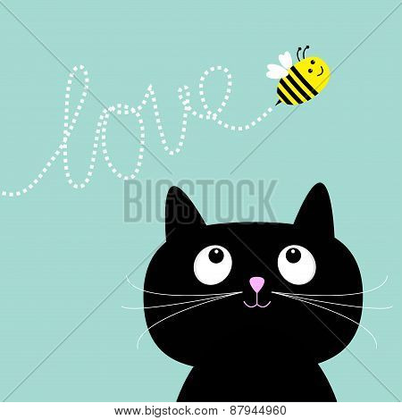 Cute Cartoon Cat. Bee Dash Line Love Flat Design Style.
