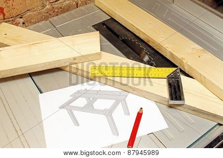 Wooden Planks With Tools And Table Draft On Tablesaw