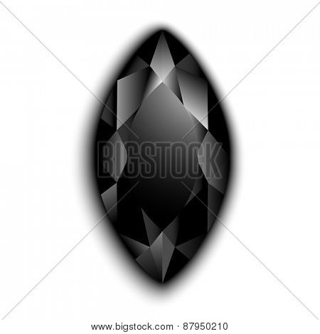 Black marquise cut gemstone  - eps10 vector