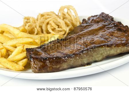 Steak, Chips And Onion Rings