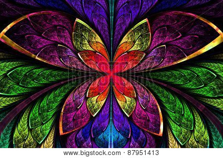 Multicolored Symmetrical Fractal Pattern As Flower Or Butterfly In Stained-glass Window Style. Compu