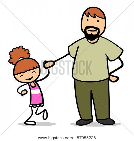 Happy father holding hand of his dancing daughter