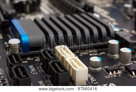 Electronic Collection - Digital Components On Computer Mainboard