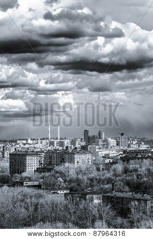 Moscow Aerial Wide Panorama: City, Stalin Hightowers, Skyscrapers