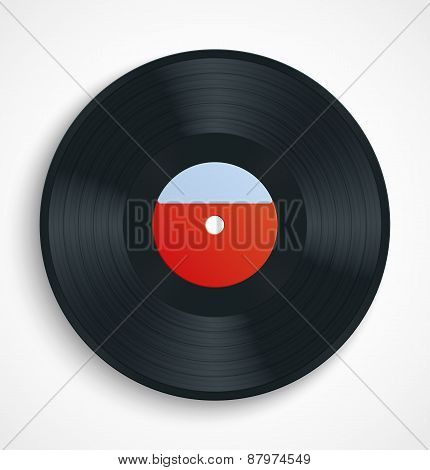 Black vinyl record disc with blank label in red
