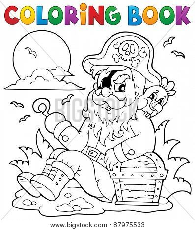 Coloring book with sitting pirate - eps10 vector illustration.
