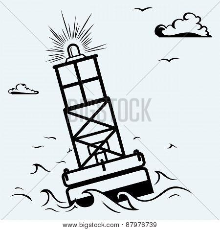 Warning buoy off the coast