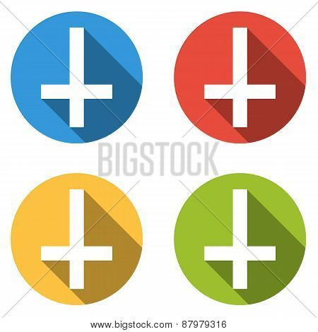 Collection Of 4 Isolated Flat Buttons (icons) With Cross Of Saint Peter