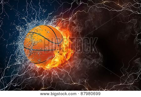 Basketball ball on fire and water with lightening around on black background. Horizontal layout with text space.