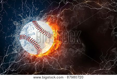 Softball ball on fire and water with lightening around on black background. Horizontal layout with text space.