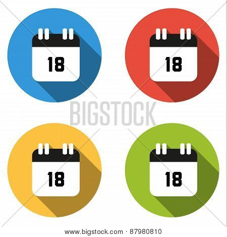 Collection Of 4 Isolated Flat Buttons (icons) For Number 18