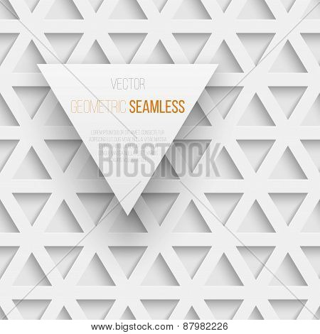 Abstract seamless geometric triangle pattern with shadow