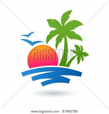 Summer Beach Illustration, Abstract Sun And Palm Tree On Seaside. Vector Logo Design Template. Conce