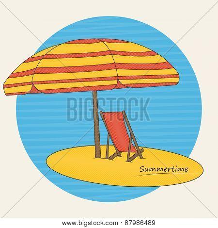 Beach Umbrella And Deckchair On The Beach
