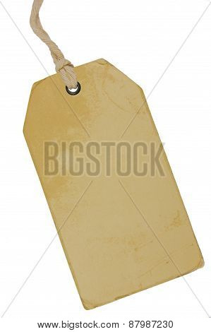 Blank Beige Vintage Cardboard Sale Tag, Empty Grunge Price Label Pricetag Badge, Isolated Grungy