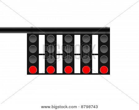 It is an illustration about five traffic signals which are in red. poster