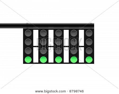 Traffic lights in green.