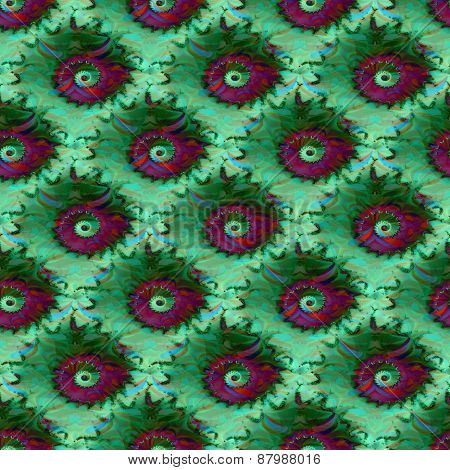 Abstract fractal spiral green pink pattern