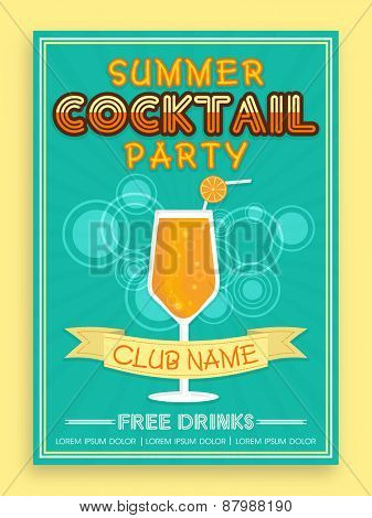 Stylish vintage invitation card design for Summer Cocktail Party.