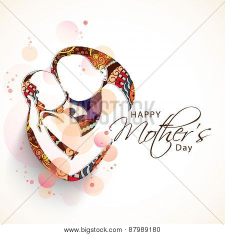 Creative sketch of a mom with her child on floral design for Happy Mother's Day celebration.