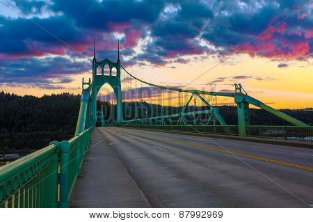 Beautiful Sunset Image of Saint John's Bridge in Portland Oregon poster