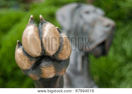 A close up of a paw offering a high five poster