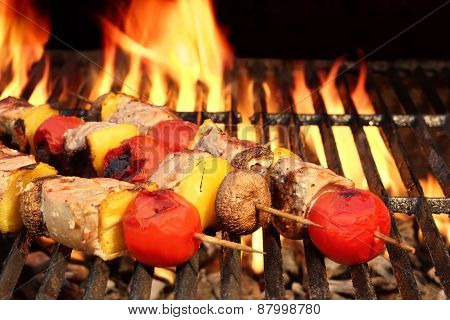 Meat And Vegetable Kebabs On The Hot Bbq Grill