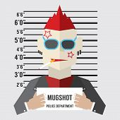 Mugshot Of Gangster Vector Illustration. EPS 10 poster