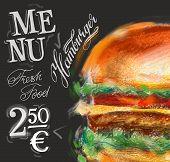 fast food on a black background. vector illustration poster