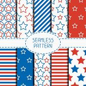 Set of geometric patriotic seamless pattern with red, white, blue stars. American symbols. USA flag. 4th of July. Wrapping paper. Paper scrapbook. Tiling. Vector nautical starry background. poster