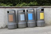 Recycling containers of all types of waste. Color differentiation poster