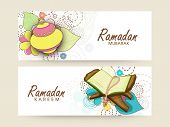 Website header and banner set with colourful arabic lantern and Islamic religious book Quran Shareef for holy month of prayers, Ramadan Kareem celebrations.  poster