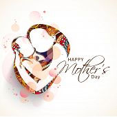 Creative sketch of a mom with her child on floral design for Happy Mother's Day celebration.  poster