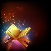 Islamic holy month of prayers, Ramadan Kareem celebrations with open golden pages islamic religious book Quran Shareef on colourful shiny background.  poster