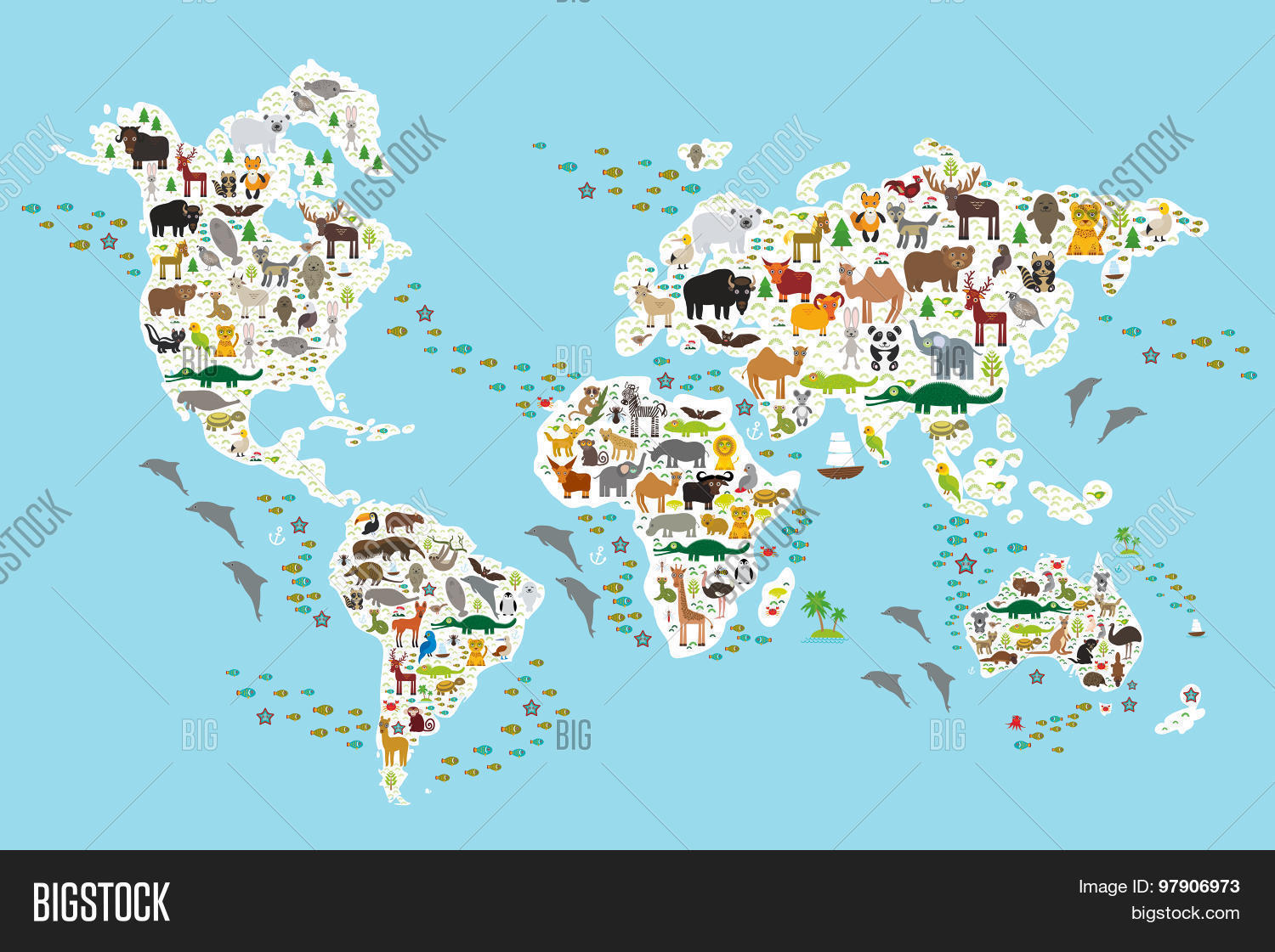 Vector y foto cartoon animal world map children bigstock cartoon animal world map for children and kids animals from all over the world gumiabroncs Image collections