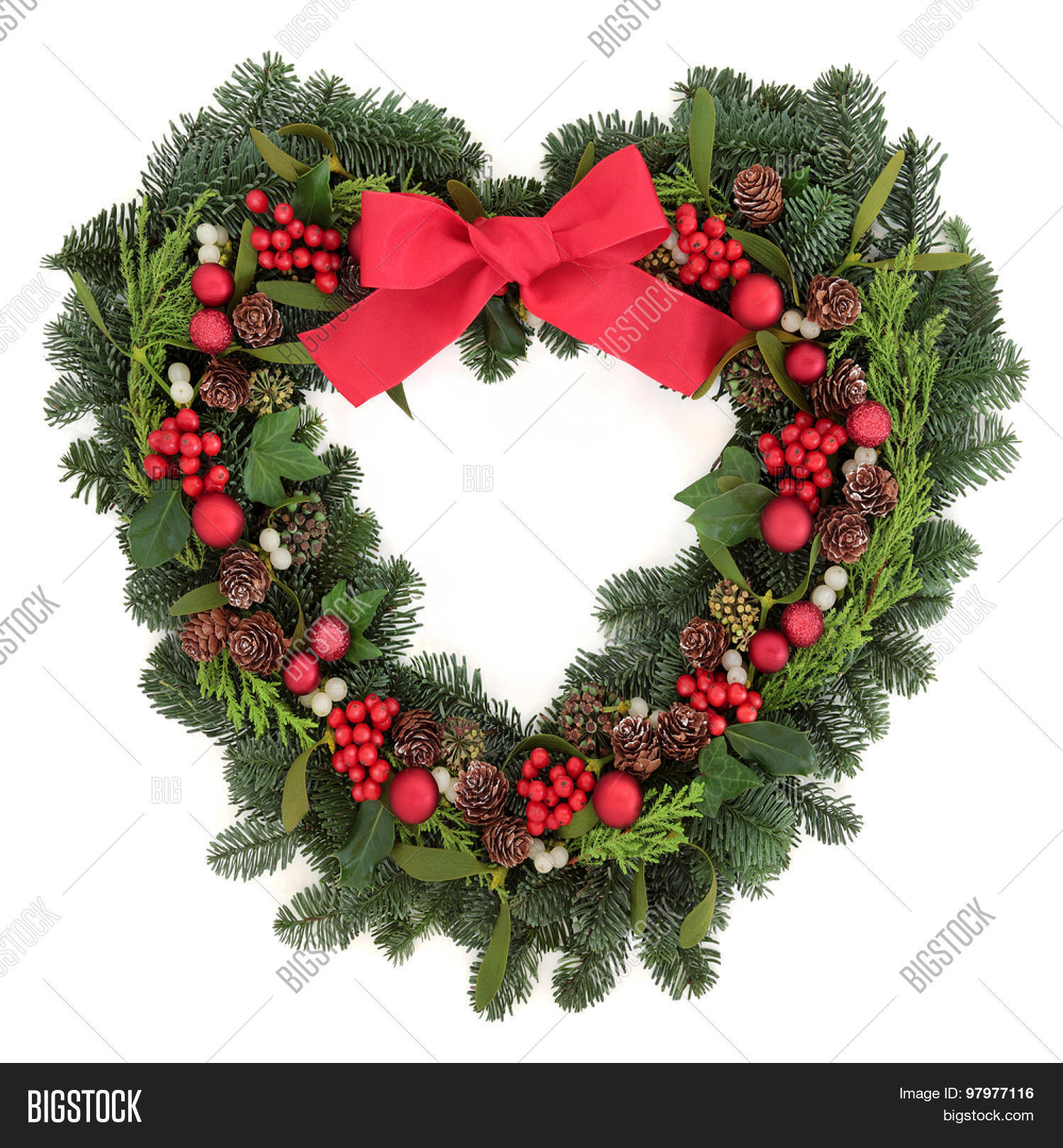 Christmas heart shaped wreath red image photo bigstock