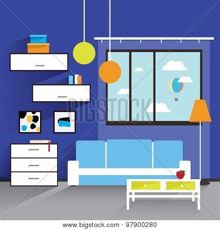 The Living Room Interior In Blue Tones