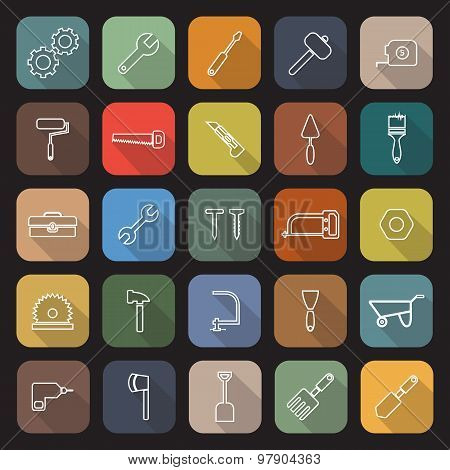 Tool Line Flat Icons With Long Shadow