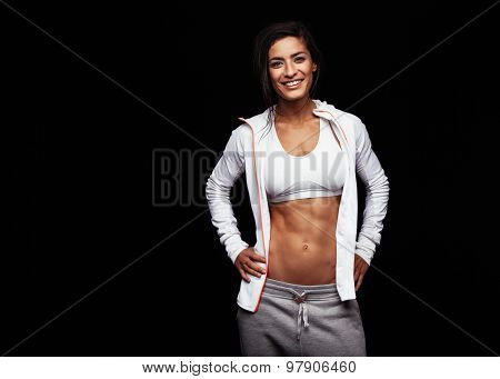 Confident Athletic Woman With Muscular Abs
