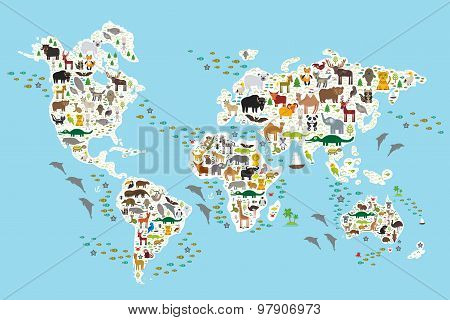 Cartoon animal world map for children and kids, Animals from all over the world, white continents an