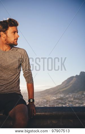 Athlete Resting After Outdoors Training