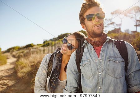 Young Hiking Couple Enjoying Nature