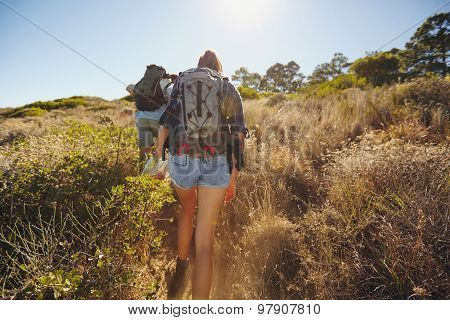 Couple On Hiking Trip In Nature