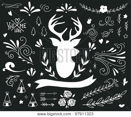 Hand Drawn Vintage Set With A Reindeer And Different Design Elements (banner, Branches, Flowers, Let