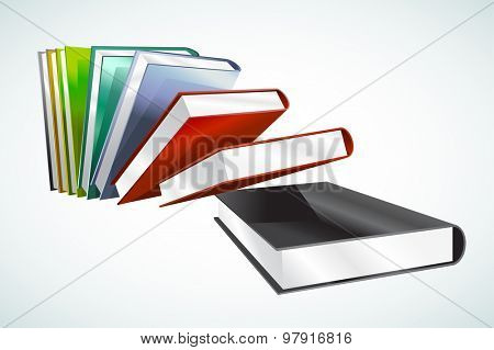 Book 3d vector illustration isolated on white. Back to school. Education, university, college symbol or knowledge, books stack, publish, page paper. Design element