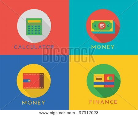 E-commerce money vector logo icons set. Shop, money or commerce and mobile payment, finance, calculator, dollar, credit card. Stocks design elements.