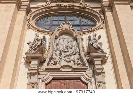 Deposition Of Christ Tympanum In Milan, Italy