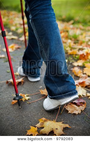 Nordic Walking Race On Autumn Trail