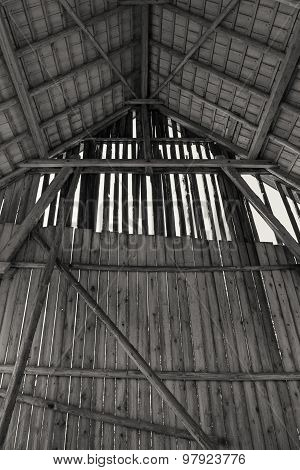 Interior view of an old barn